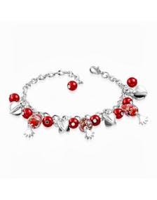 Silverfärgat Armband med Hjärtan och Röda Pärlor 1e18e823d3725