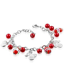 Silverfärgat Armband med Körsbär och Röda Pärlor 4a4a7bc56ab14