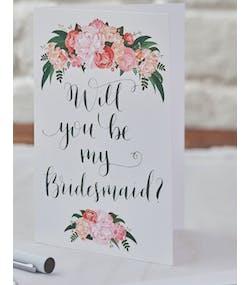 online store 2639b a353a 5 st Will You be my Bridesmaid  Inbjudningskort - Bohemian Rose