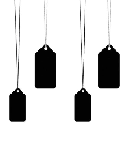 6 stk Svarta Märkeslappar   Tags med Silverfärgad och Svart Tråd 2b54d68c1ee07