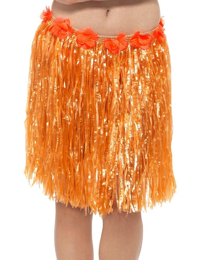 1e6c130c Orange Hawaii Hulaskjørt med Blomster 42 cm