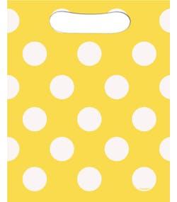 67613579a43c 8 st Gula Partypåsar med Vita Polka Dots och Handtag