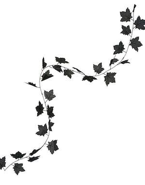 svart girlander med blader 180 cm