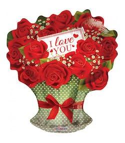 08f24f14321a I Love You - Rosbukett Folieballong 46 cm