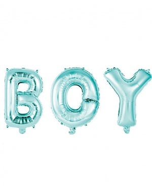 5670387c BOY - 3 stk Lys Blå Folieballonger 41 cm
