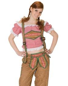 Rutig Röd och Vit Oktoberfest Blus med Spetskanter 923b0d772b2f0