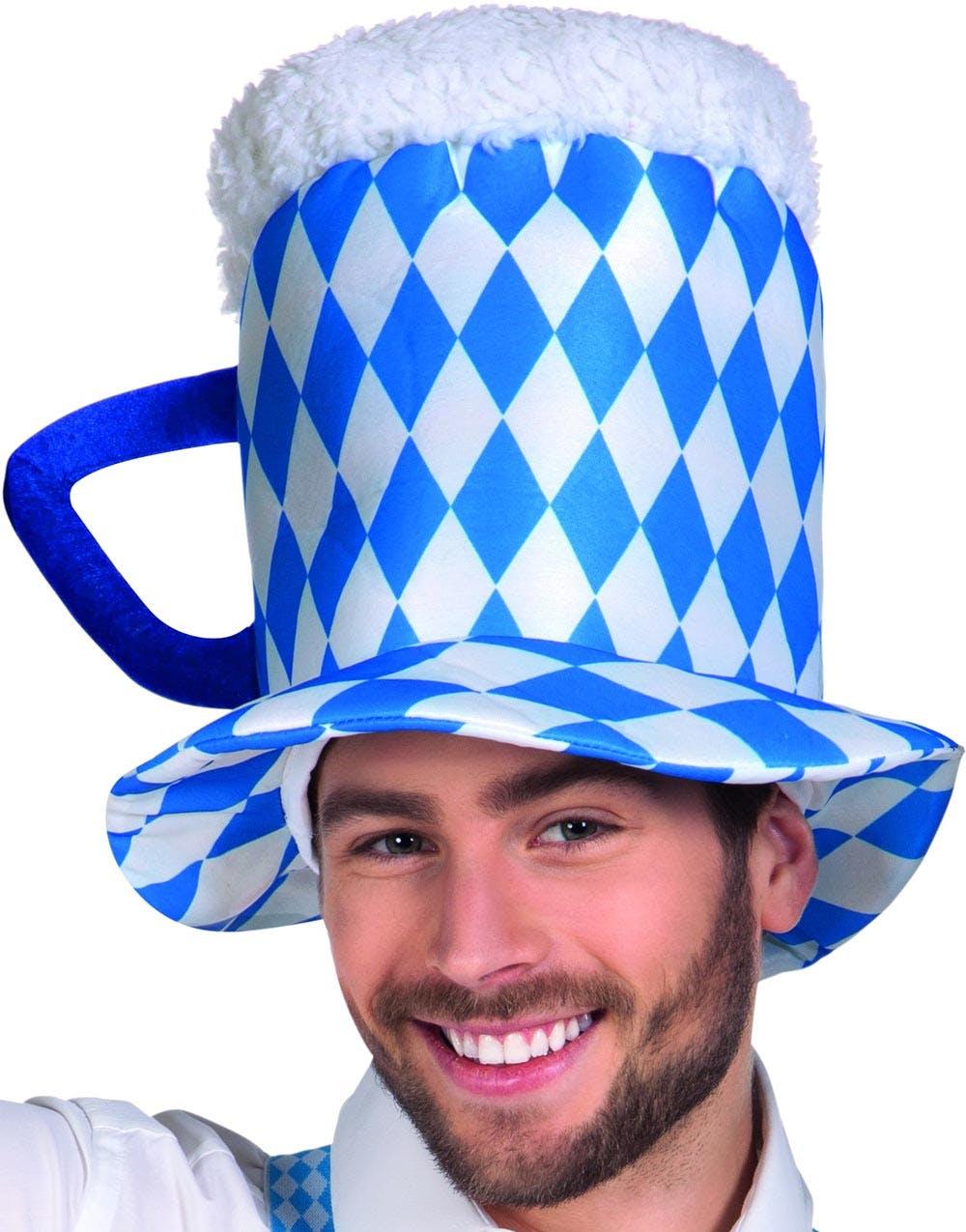 Rutete Blå og Hvit Øl-Seidel Oktoberfesthatt