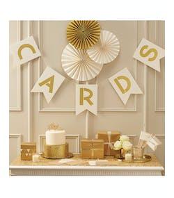 buy online fdb57 c021e Cards - 2 meter Krämvit och Guldfärgad Banner - Glitter Celebration
