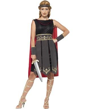 5ea2ca9f Romersk Kriger Damekostyme med Fastsydd Kappe