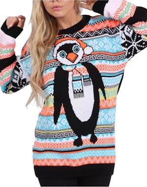 Stickad Pingvin Jultröja med Färgglada Bårder
