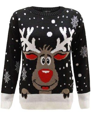 620470908 Svart Strikket Julegenser med Rudolf-Motiv til Barn
