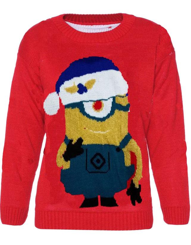 Svart Minion Strikket Julegenser til Barn Julegensere