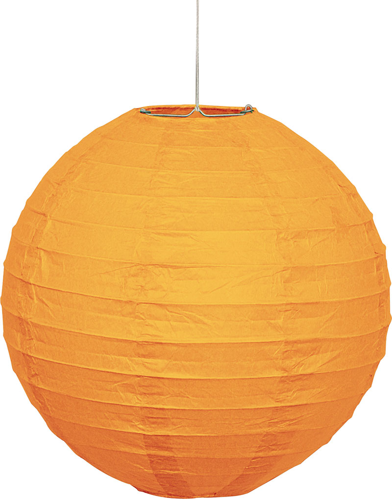 Ensfarget Oransje 25cm 1 Papirlanterne 25cm