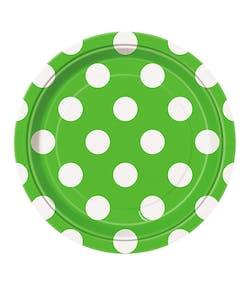 213f1846 8 stk Lime Grønne Små Papptallerkener med Hvite Polka Dots 17 cm