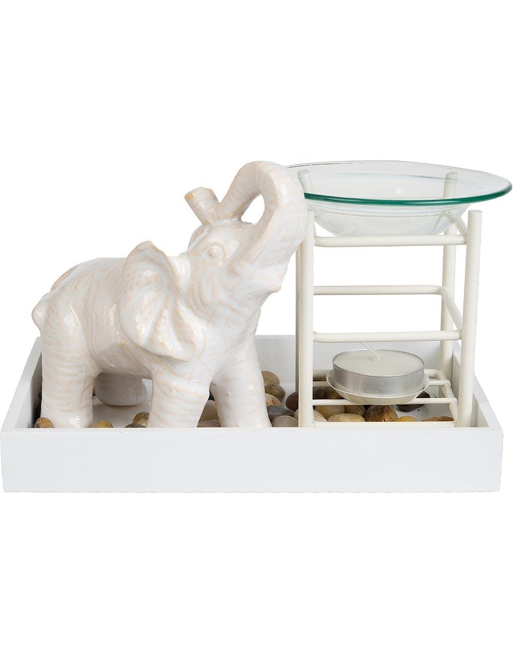 oljebr nnare med vit elefant figur. Black Bedroom Furniture Sets. Home Design Ideas