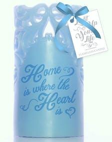 Home - Ljus Blått Vax LED-Ljus med Text och Utskärningar a4894ceb274ab