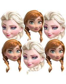 456276c7 6 stk Pappmasker til Barn av Elsa og Anna - Frost - Disney Frozen