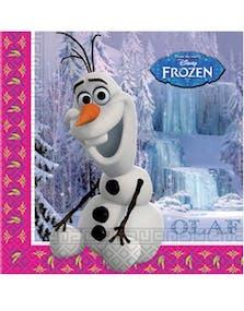 4eb75e52 20 stk Servietter med Motiv av Olaf/Elsa og Anna 33x33 cm - Frost -