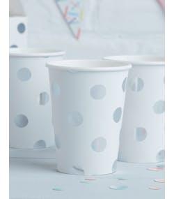 buy popular 0c282 3b5c1 8 stk Vita Pappmuggar med Folierade Silverfärgade Polka Dots 255 ml - Plock  och Mix