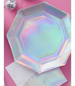 8 stk Iriserande Papptallrikar 25 cm - Shimmer and Shine 60873e8c3ab37