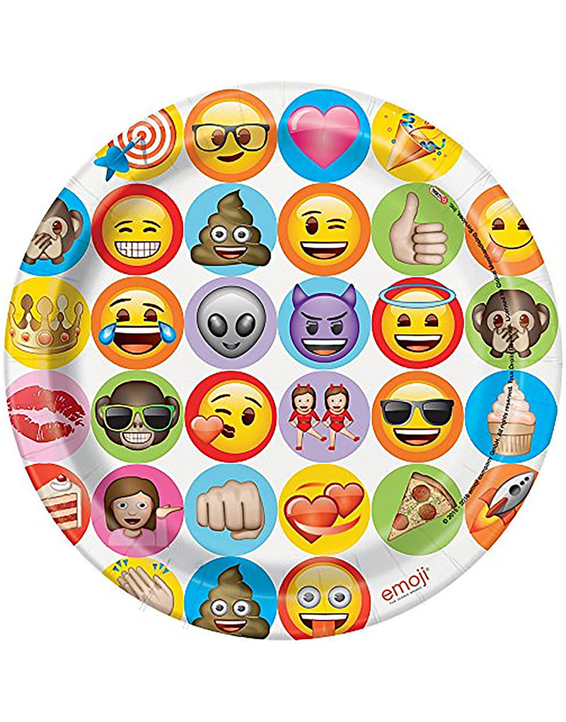 8 stk Små Papptallrikar 17 cm Emoji