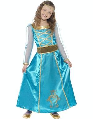 56f4aa917e48 Blå Kunglig Prinsessa Barnkostym
