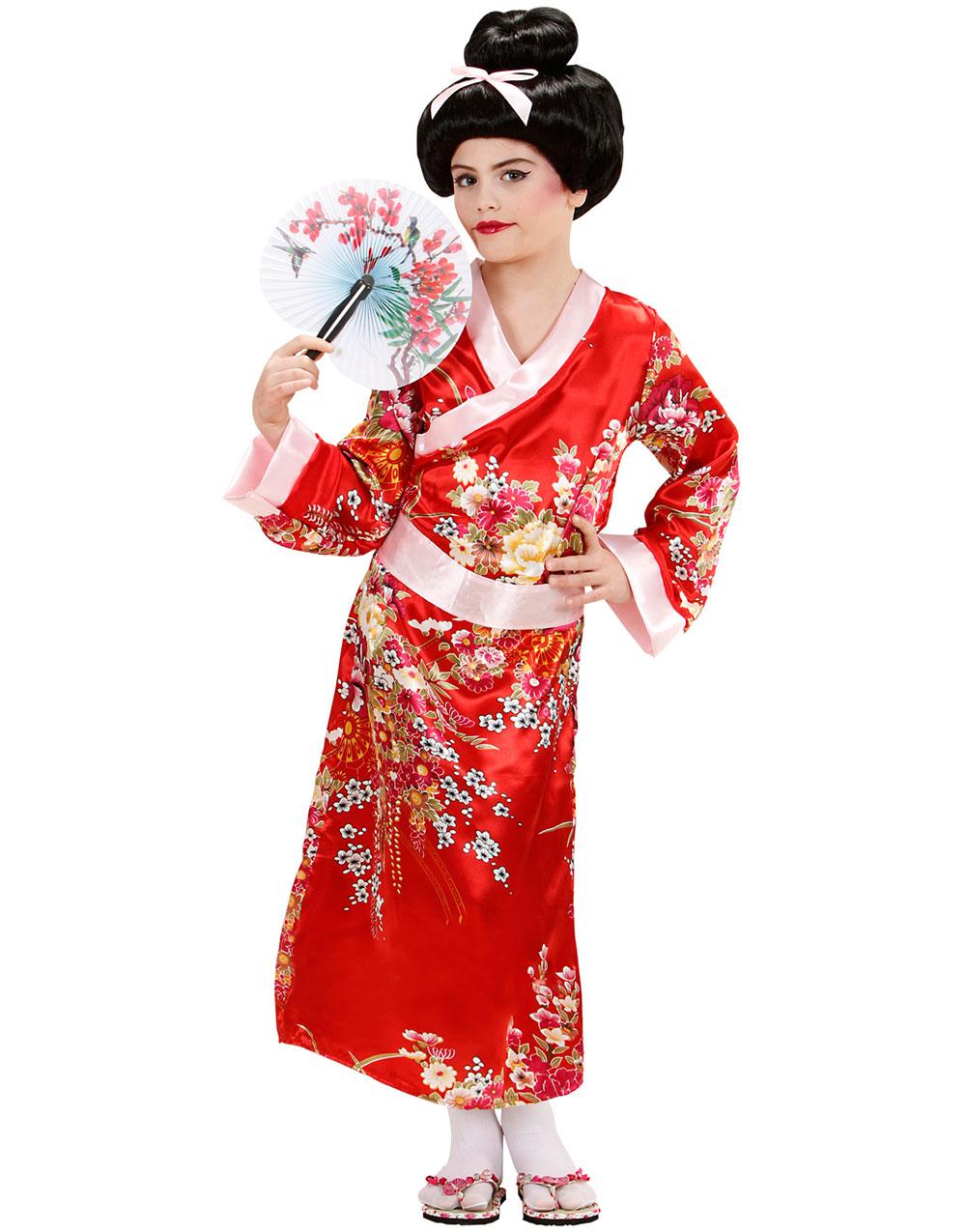 Rød Geisha Kostymekjole Til Barn