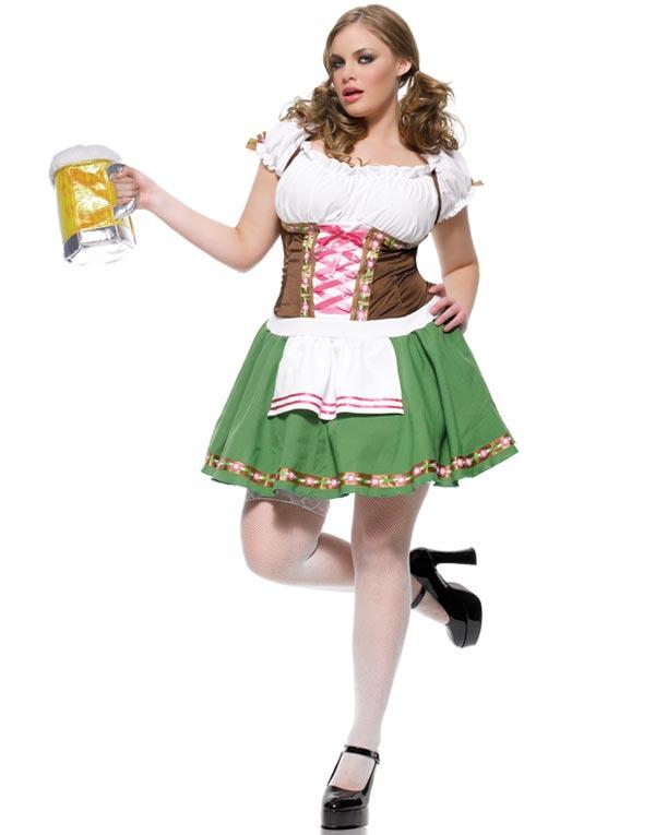 Tyrolerkjole Blå Oktoberfest Kostyme Store Størrelser