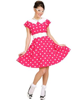 9e75b5b16 50-Talls Rosa Kjole med Prikker - Kostyme