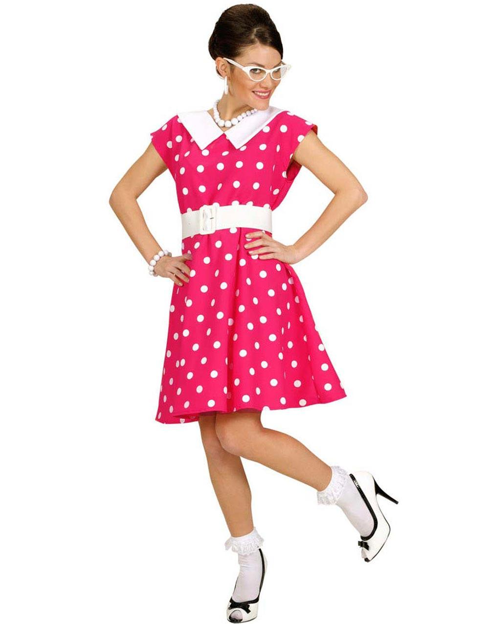 50 Talls Rosa Kjole med Prikker Kostyme