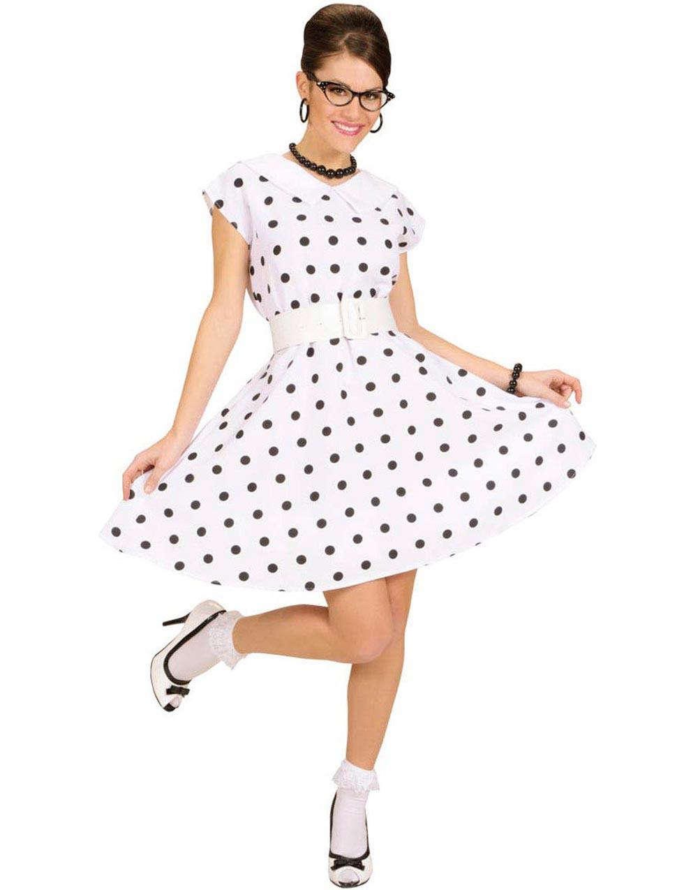 50 Talls Hvit Kjole med Prikker Kostyme