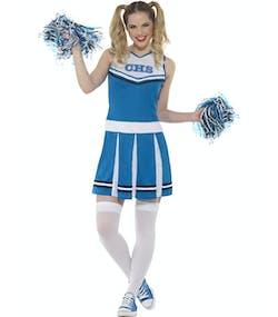 Cheerleader Dräkt i Blått och Vitt med Pom Poms a5353fea82670