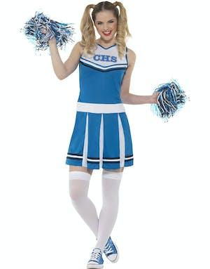 Cheerleader Dräkt i Blått och Vitt med Pom Poms f0fe35f6dd80c