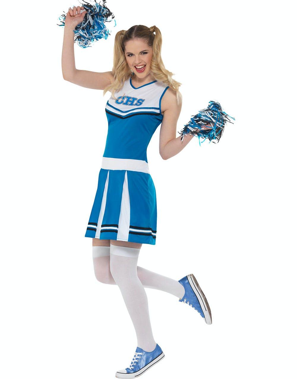 Cheerleader Dräkt i Blått och Vitt med Pom Poms bead575f4ed37