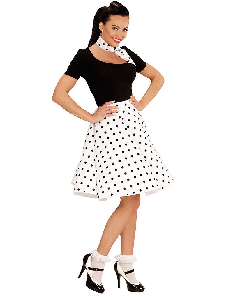Hvitt 50 Talls Polka Dot Kostymeskjørt og Skjerf