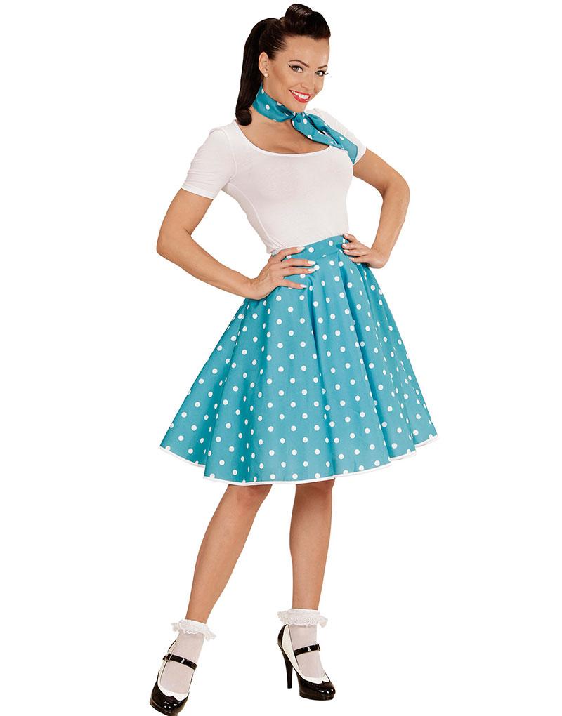 Blått 50 Talls Polka Dot Kostymeskjørt og Skjerf