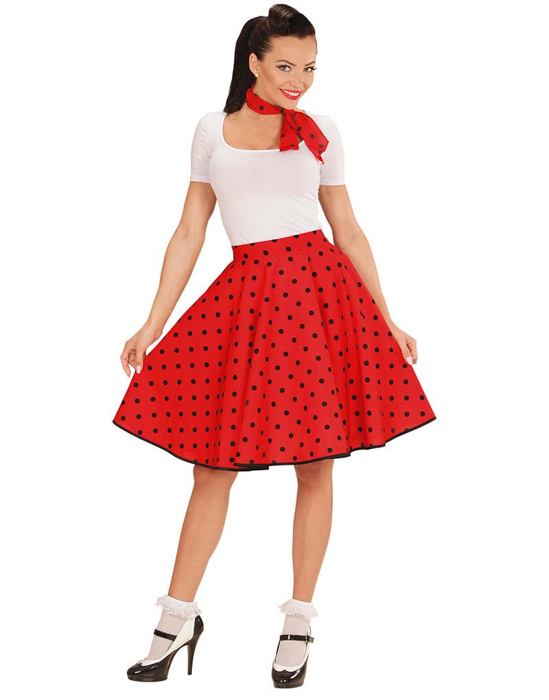 Rødt 50 Talls Polka Dot Kostymeskjørt og Skjerf
