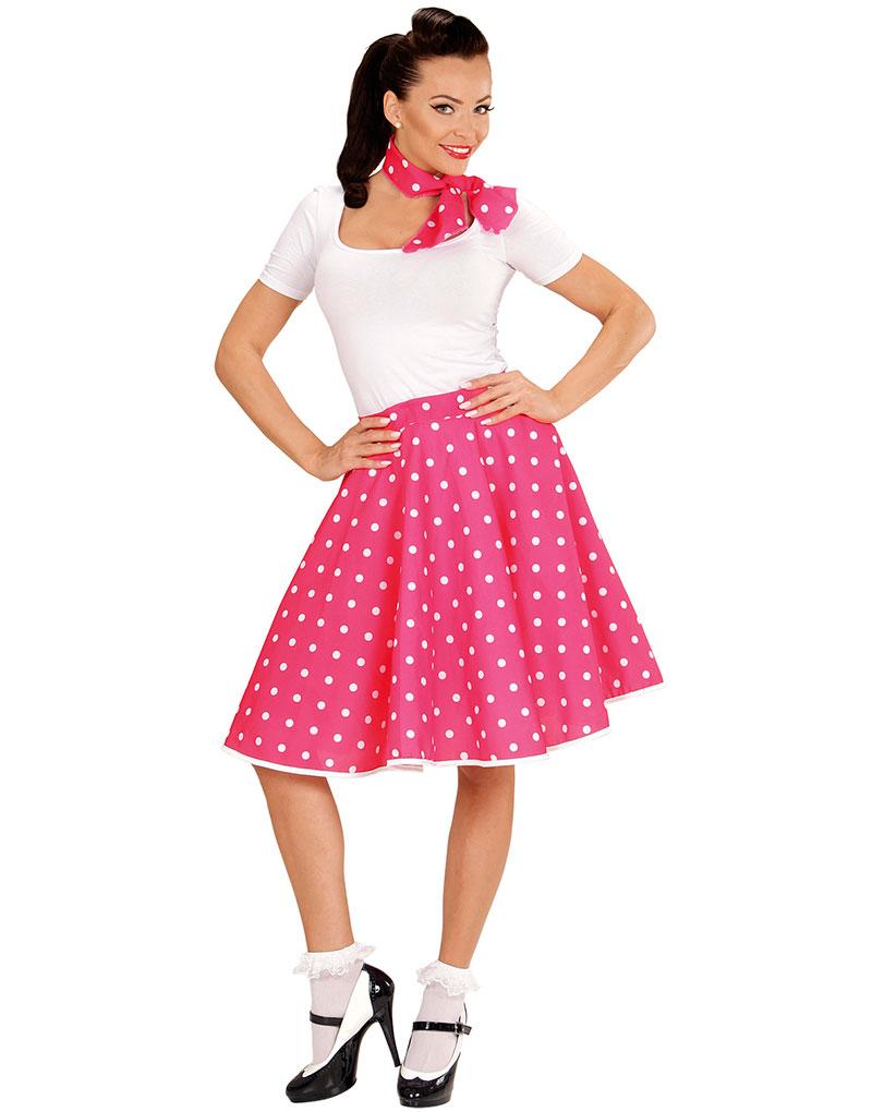 Rosa 50 Talls Polka Dot Kostymeskjørt og Skjerf