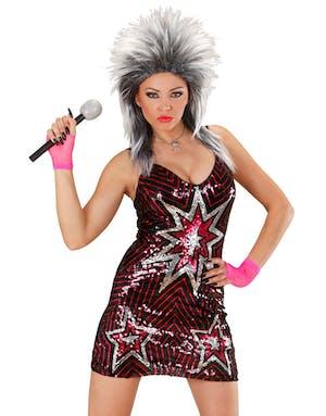e4cf8f2abadc Star - Svart och Rosa Paljettklänning - Maskeradkläder Vuxen ...