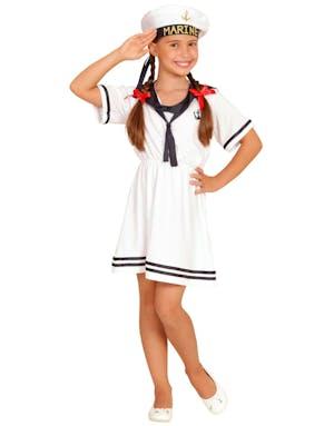 e9240f78 Sailor Girl - Kostyme til Barn med Hatt - Sailor / Marine / Navy ...