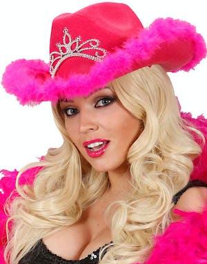Rosa Cowboy Hatt m Tiara - Huvudbonad 09e2176b827a5