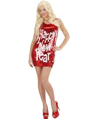 5235bb8d Happy New Year - Rød Kjole med Paljetter
