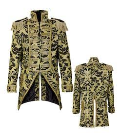 36354efed12 Svart och Guldfärgad Mönstrad Tailcoat Lyxjacka till Herr