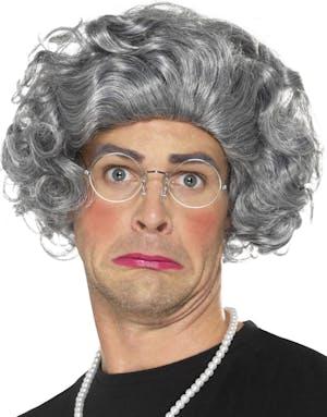 Grå Gammal Man Kvinna Peruk med Glasögon och Smycke 1948a20324def