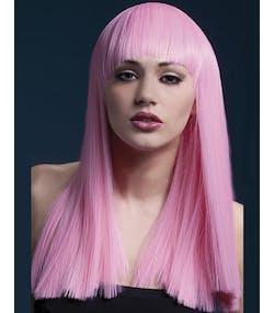 Alexia Delux Wig - Lång Peruk med Pannlugg i Baby Rosa 79eeaa1e15b09
