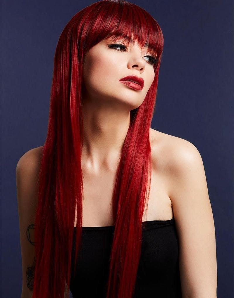 Jessica Deluxe Wig - Kan Styles! - Lang Rubinrød Parykk