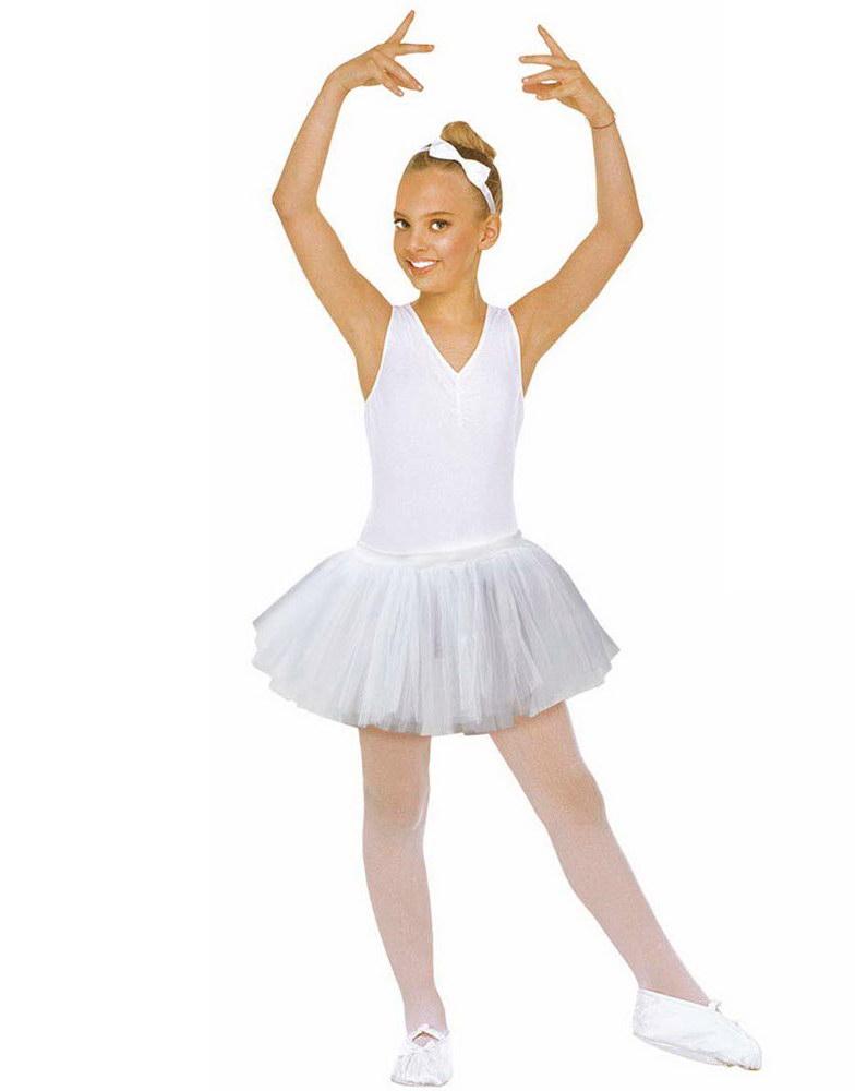 Vit Ballerina Tutu Kostym Kjol Barn