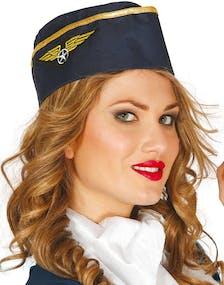 Blå Flyvärdinne Hatt med Guldfärgad Kant och Emblem 9221acd500d89