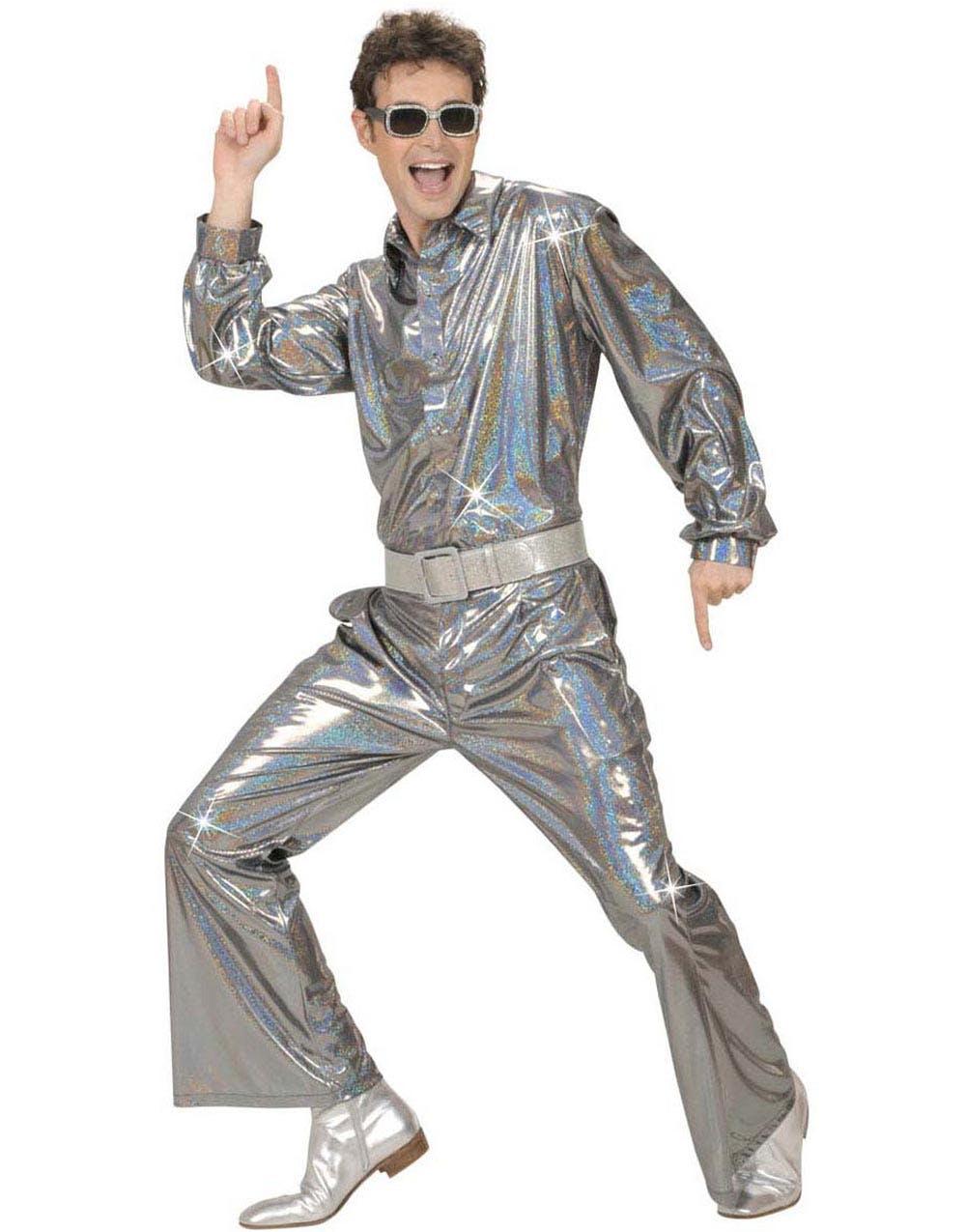 c035617a Holografisk Disco Skjorte - Sølv