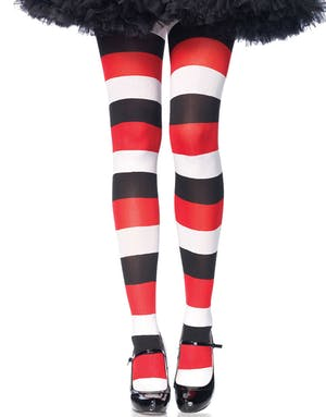 aa1458c9 Stripete Rød, Hvit og Svart Strømpebukse